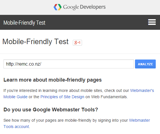 Mobile friendly test-google